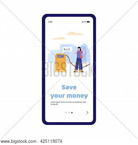 Mobile Phone App For Economy Money When Refuel A Car With Gasoline.