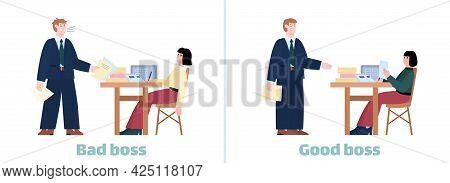 Bad Boss Vs Good Boss Infographic On Work Ethics Topic, Flat Vector Illustration.