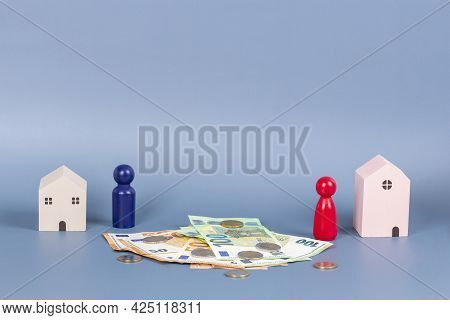 Divorce, Conflict, Breaking Love, Parting Couple, Partnership, Property Division Concept With Miniat