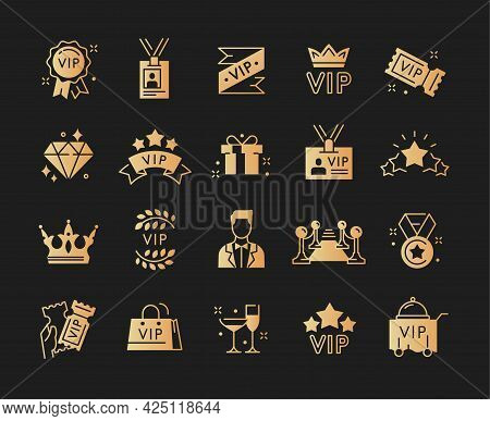 Big Collection Of Vip Icons. Champagne, Red Carpet, Vip Cinema Tickets, Vip Line And Others. Set Of