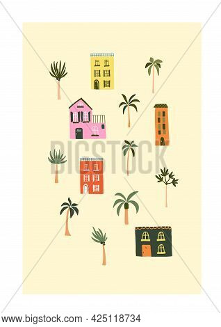 Cute Summer Houses On Beach With Palm Trees. Cozy Hygge Scandinavian Style Template For Postcard, Gr