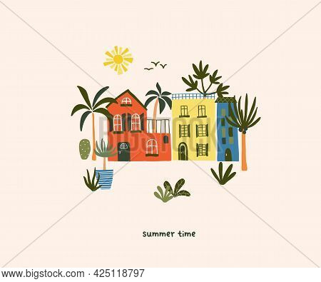 Cute Summer House On Beach With Palm Trees And Sun. Cozy Hygge Scandinavian Style Template For Postc