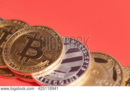 Bitcoin Btc And Dogecoin Doge Group Included With Cryptocurrency Coin , Ethereum Eth, Bitcoin Cash B
