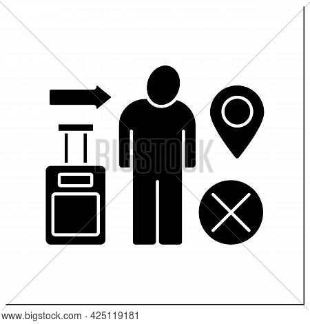 Immigration Glyph Icon. Relocation Ban. Troubles With Coming Back To Home Country. Migration Concept