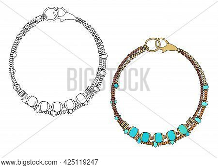 Handmade Jewelry: A Bracelet With Turquoise Beads. Vector Illustration Isolated On A White Backgroun
