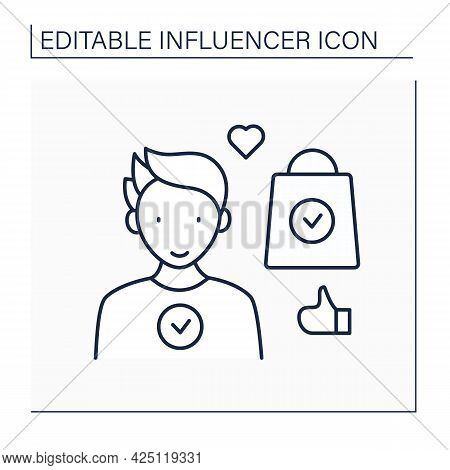 Ambassador Line Icon. Official Representative Of Brand Interests Among Target Audience.well-known, P