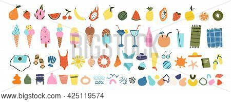 Cute Hand Drawn Summer Icons Fruits, Ice Creams, Cocktails, Beach Items. Cozy Hygge Scandinavian Sty
