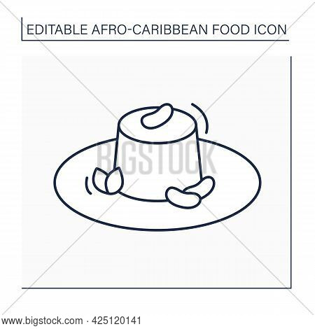 Moin-moin Line Icon. Traditional Nigerian Steamed Bean Pudding. Afro-caribbean Food.local Food Conce