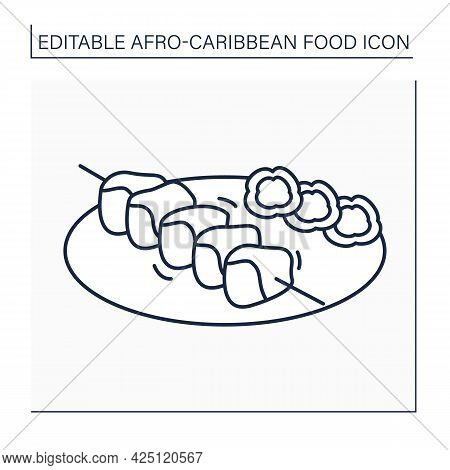 Suya Line Icon. Meat Skewer Barbecued. Traditional Dish With Garnish.afro-caribbean Food.local Food