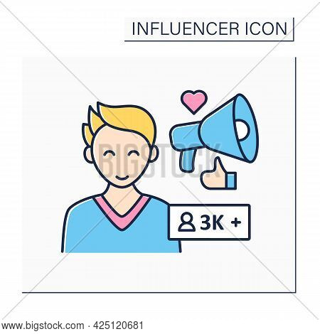 Micro Influencer Color Icon. Blogger With Three Thousand Plus Subscribes. Low Influence On People. U