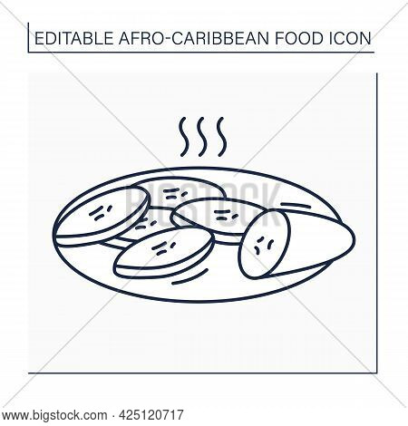 Fried Plantain Line Icon. Ripe Sweet Plantains With Caramelized Texture And Sweet Flavor. Afro-carib