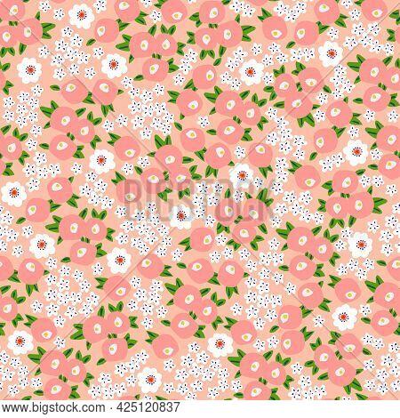 Small Flower Illustration Motif Ditsy Seamless Repeat Pattern Digital File Pattern Artwork Home Deco