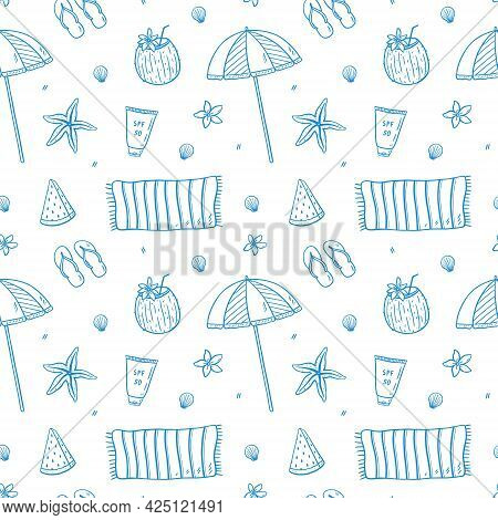 Seamless Pattern With Summer Holiday Elements - Beach Umbrella And Towel, Flip Flops, Sunscreen, Coc