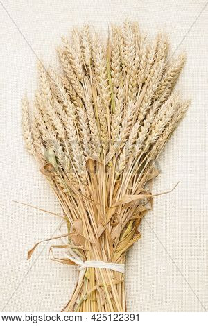 Ears Of Wheat. Sheaf Of Wheat On A Light Surface