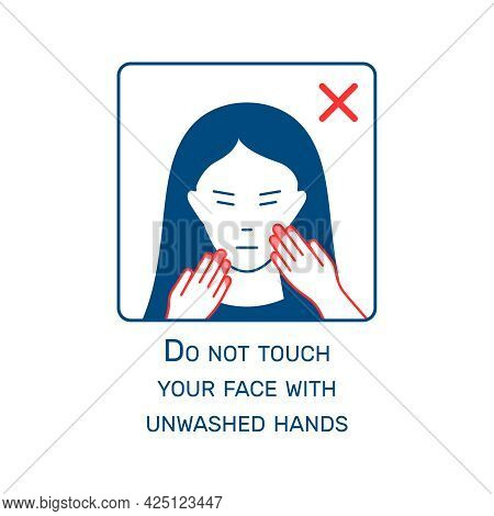 Flat Coronavirus Guide Icon With Unwashed Hands Symbol Vector Illustration