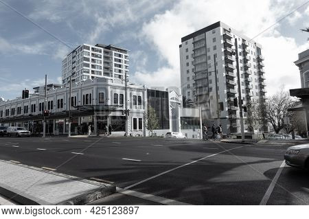 Auckland New Zealand - June 19 2021; Low-rise Traditional Style Buildings With Medium Rise Apartment
