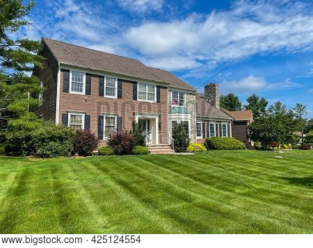 Single Family Suburban Brick House In New Jersey.
