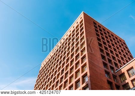 Madrid, Spain - May 8, 2021: Ministry Of Health Of Spain. Exterior View Of Brick Building Agaisnt Sk