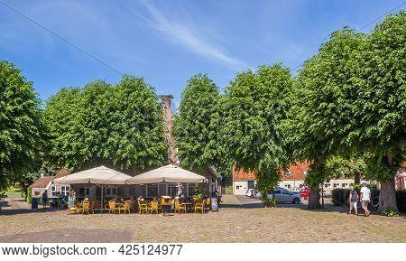 Bourtange, Netherlands - June 16, 2021: Central Market Square In Historic Town Bourtange, Netherland