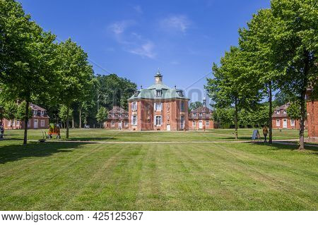 Sogel, Germany - June 16, 2021: Historic Buildings Of The Castle Clemenswerth In Sogel, Germany