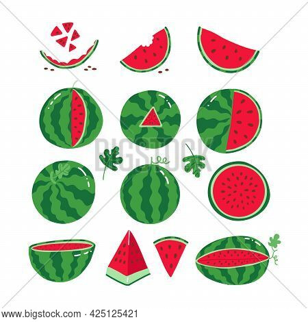 Ripe Red Watermelons. Whole And Slices Of Watermelons Collection. Set Of Juicy Fruits For Summer Des