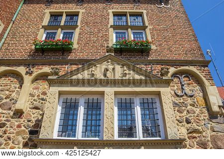 Window On The Facade Of The Historic Toen Hall Of Meppen, Germany