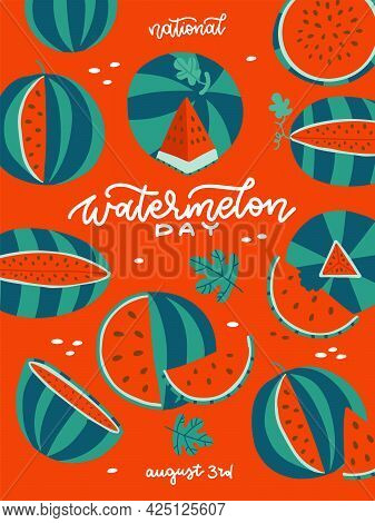 Watermelon Day - Vertical Summer Banner. Red Poster With Green Watermelons And White Lettering Text.