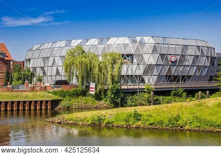 Meppen, Germany - June 16, 2021: Modern Shopping Mall At The Hasse River In Meppen, Germany