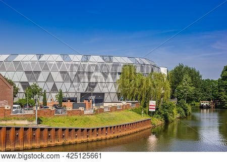 Meppen, Germany - June 16, 2021: Shopping Mall Die Mep At The River Hasse In Meppen, Germany