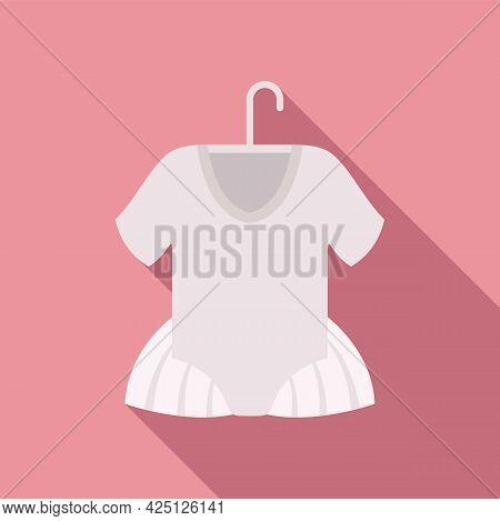 Ballet Kid Dress Icon Flat Vector. Ballerine Dance Girl. Tutu Dancer Dress