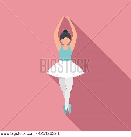 Ballerina Training Icon Flat Vector. Ballet Dance Girl. Tutu Class Dancer