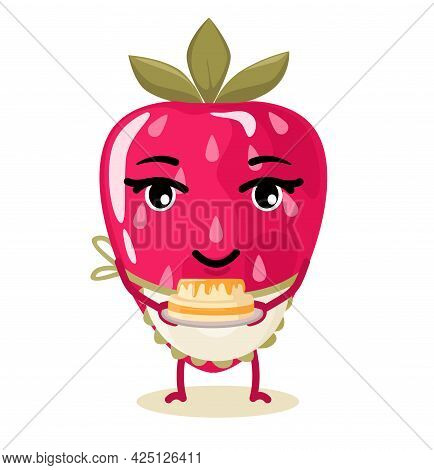 Strawberry Berry Character, Stylized Chef. Animated Cartoon Character. Vector