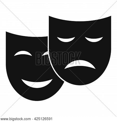 Theater Mask Icon Simple Vector. Drama Comedy Mask. Theater Tragedy
