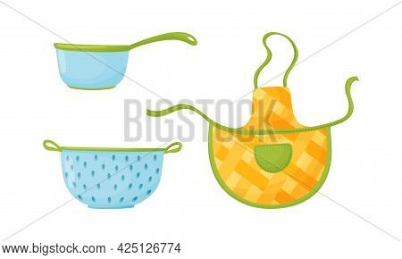 Kitchen Tools With Apron And Sieve Vector Set