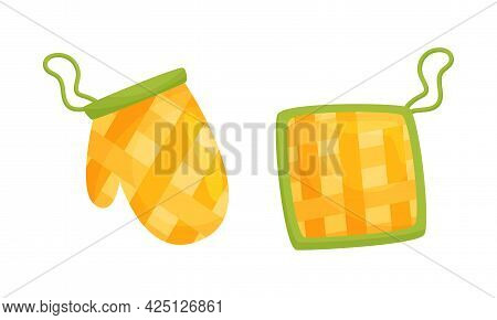 Kitchen Tools With Mitten As Pot-holder Vector Set