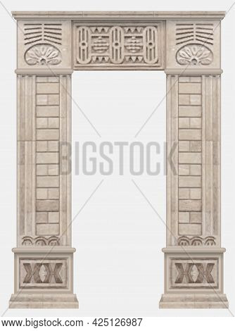 Stone Ancient Arch In Egyptian Style Entrance