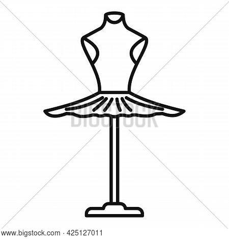 Ballerina Dress Icon Outline Vector. Princess Ballet Dress. Cute Girl Skirt