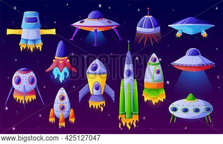 Cartoon Alien Spaceship. Fantasy Ufo Spacecraft, Futuristic Space Shuttle Or Aircraft. Funny Colorfu