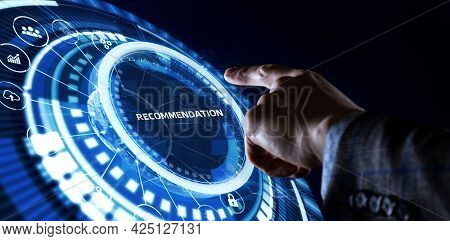 Business, Technology, Internet And Network Concept. The Word Recommendation On The Virtual Screen.