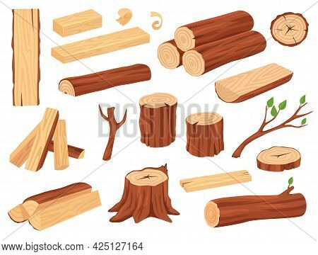 Cartoon Wood Log. Tree Trunks, Stumps, Planks, Piled Firewood, Branches With Leaves. Hardwood Timber