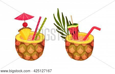Exotic Cocktails With Straw And Umbrella Poured In Pineapple Fruit Vector Set