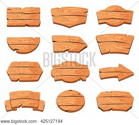 Wood Boards. Cartoon Wooden Signs In Various Shapes. Arrow Direction Sign, Message Board. Rustic Woo