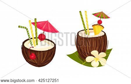 Exotic Cocktails With Straw And Umbrella Poured In Coconut Fruit Vector Set