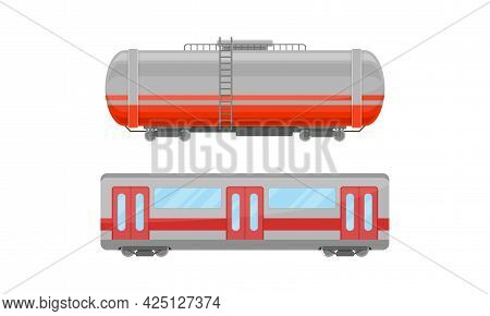 Railroad Car Or Railway Wagon As Railroad Vehicle For Carrying Cargo And Passengers Vector Set