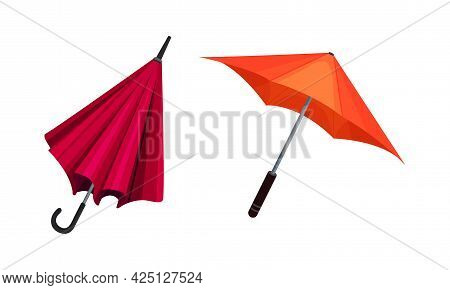 Open Umbrella As Waterproof Protective Accessory For Rainy Weather Vector Set