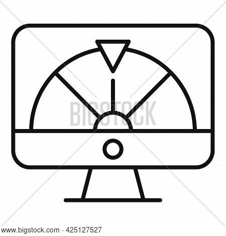 Online Lucky Wheel Icon Outline Vector. Fortune Spin Game. Casino Lottery
