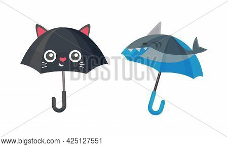 Childish Umbrella As Waterproof Protective Accessory For Rainy Weather Vector Set
