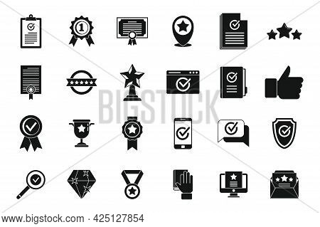 Certificate Quality Assurance Icons Set Simple Vector. Exam Growth. University Compliance