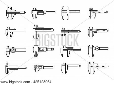 Calibrated Calipers Icons Set Outline Vector. Control Device. Construction Calipers