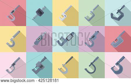 Micrometer Icons Set Flat Vector. Engineering Gauge. Industrial Micrometer